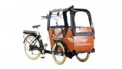 Triporteur Smiley avec caisse miel accés bas, pneu grand confort et selle en cuir Brooks